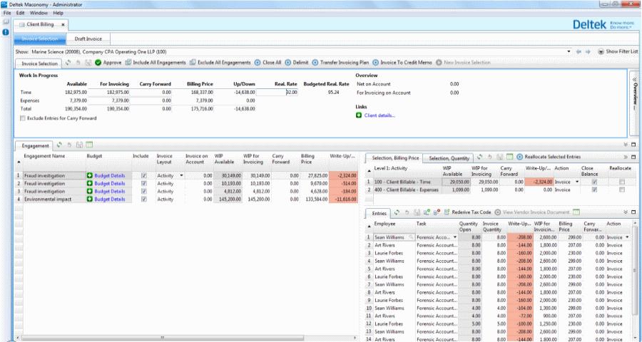 Maconomy ERP screenshot